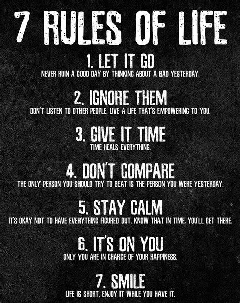 7 Rules Of Life Motivational Poster Print  Hurshani .